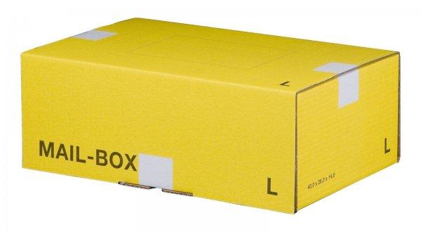 Versandkarton 395 x 248 x 141 mm mit Steckverschluss in Gelb