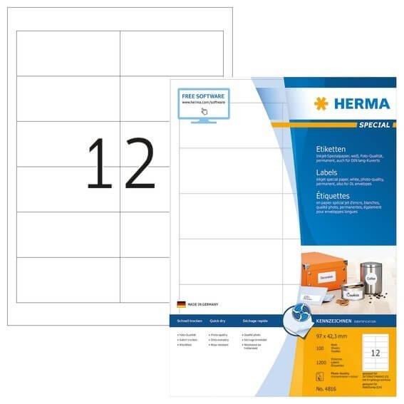 HERMA 4816 Inkjet-Etiketten A4 97x423 mm weiß Papier matt 1200 Stück