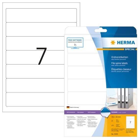 HERMA 5090 Ordneretiketten A4 192x38 mm weiß Papier matt blickdicht 175 Stück