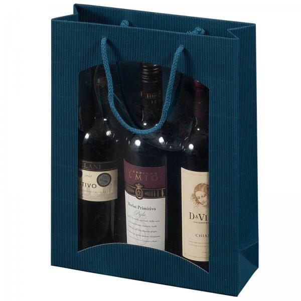 Geschenk-Flaschentasche für 3 Weinflaschen mit Sichtfenster Saphir
