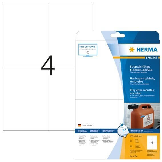 HERMA 4576 Wetterfeste Folien-Etiketten A4 1050x1480 mm ablösbar weiß matt strapazierfähig 80 Stück