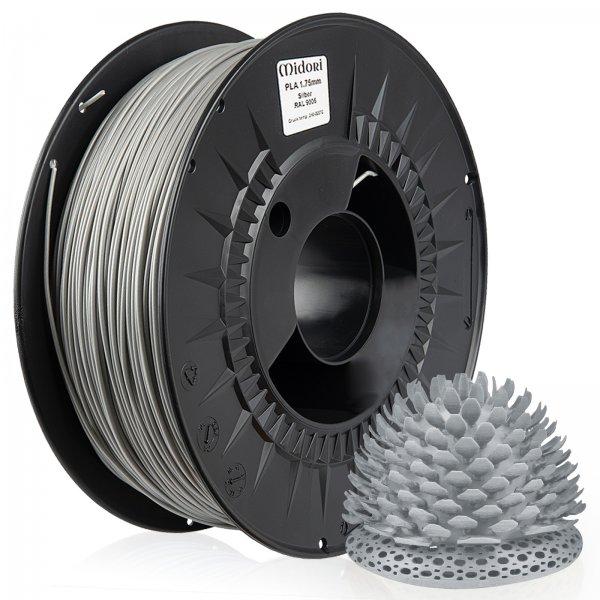 Midori® 3D PLA Filament 1,75mm 1kg Spule Silber RAL9006