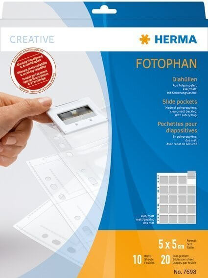 HERMA 7698 Diahüllen für Kleinbild-Dias Folie klar/matt 10 Hüllen