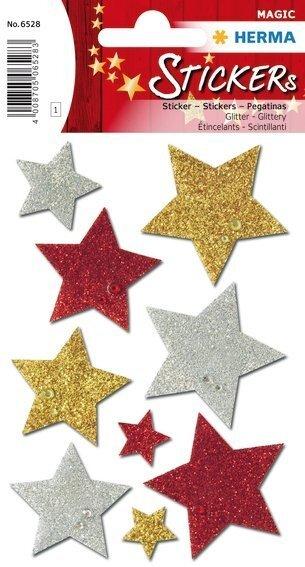 HERMA 6528 10x Sticker MAGIC bunte Sterne glittery