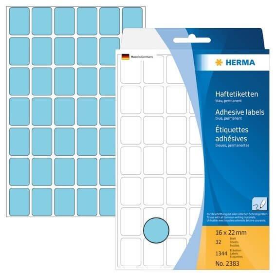 HERMA 2383 Vielzwecketiketten 16 x 22 mm Papier matt Handbeschriftung 1344 Stück Blau