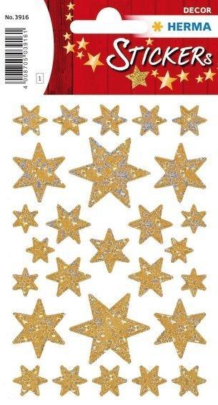 HERMA 3916 10x Sticker DECOR Sterne 6-zackig gold/irisierende Folie
