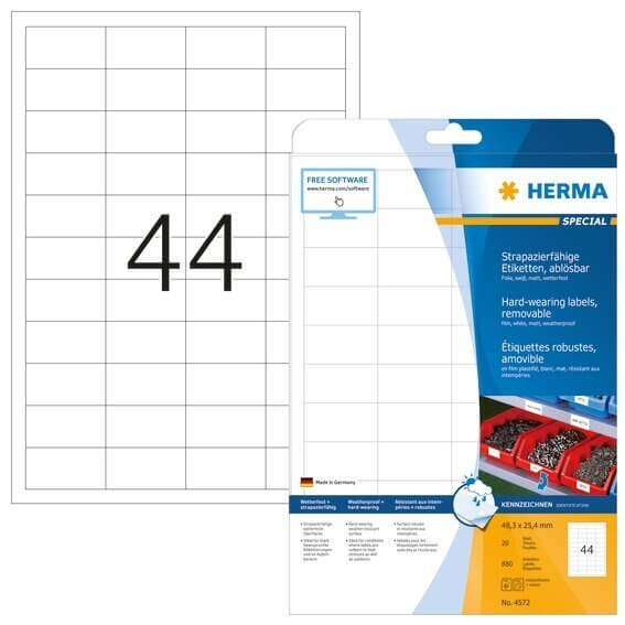 HERMA 4572 Wetterfeste Folien-Etiketten A4 483x254 mm ablösbar weiß matt strapazierfähig 880 Stück