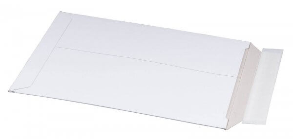 Vollpappe-Versandtasche 205 x 262 x 30 mm DIN B5+ mit Aufreißfaden & Selbstklebeverschluss Weiß