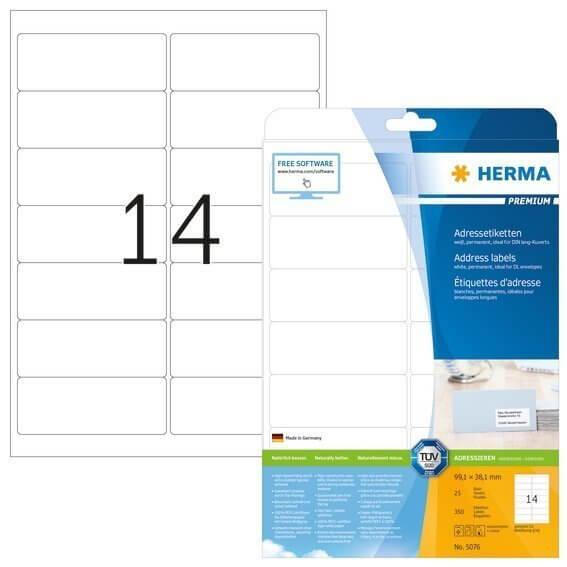 HERMA 5076 Adressetiketten Premium A4 991x381 mm weiß Papier matt 350 Stück