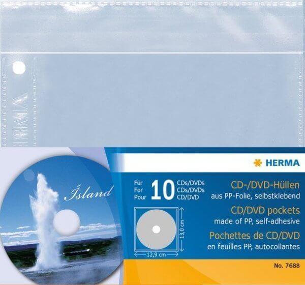 HERMA 7686 CD/DVD-Hüllen 145x135 mm 5 Hüllen