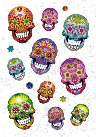 HERMA 3171 10x Sticker MAGIC Totenkopf Flower Power Glitterfolie