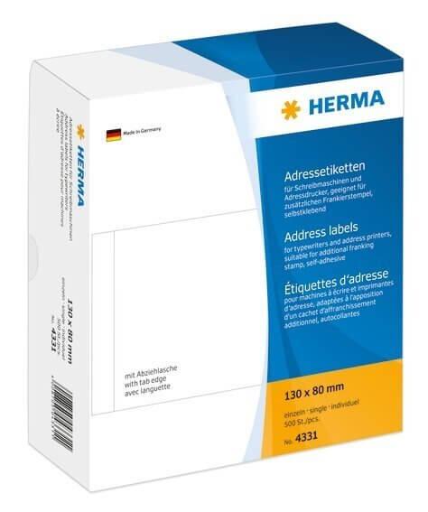 HERMA 4331 Adressetiketten für Schreibmaschinen einzeln 130x80 mm weiß Papier matt 500 Stück