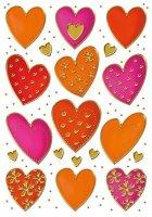 HERMA 3618 10x Sticker DECOR Herzen Goldprägung