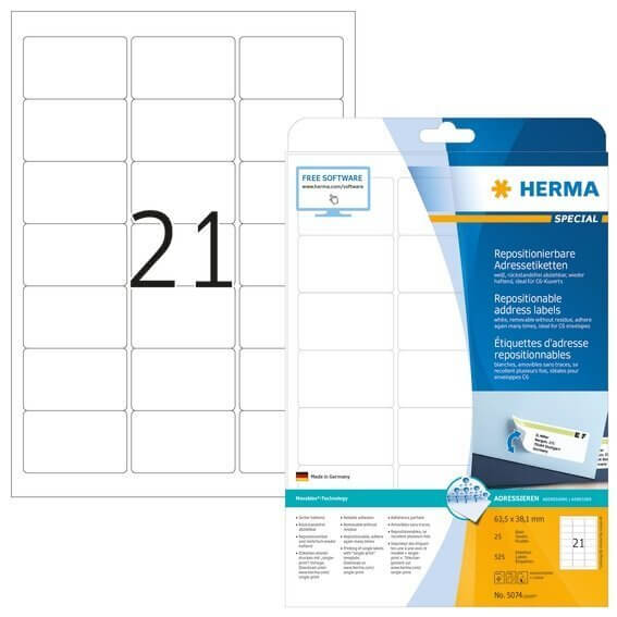 HERMA 5074 Repositionierbare Adressetiketten A4 635x381 mm weiß Movables Papier matt 525 Stück
