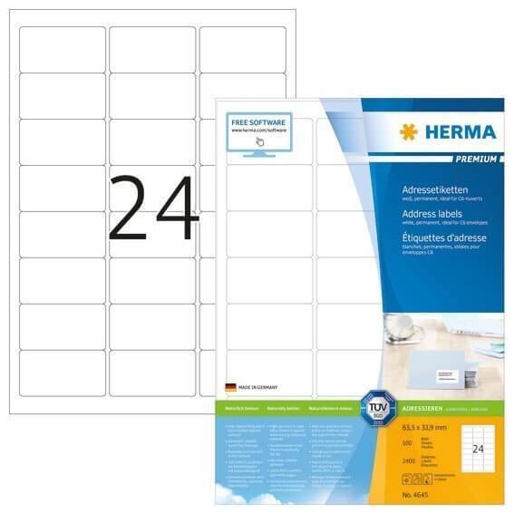 HERMA 4645 Adressetiketten Premium A4 635x339 mm weiß Papier matt 2400 Stück