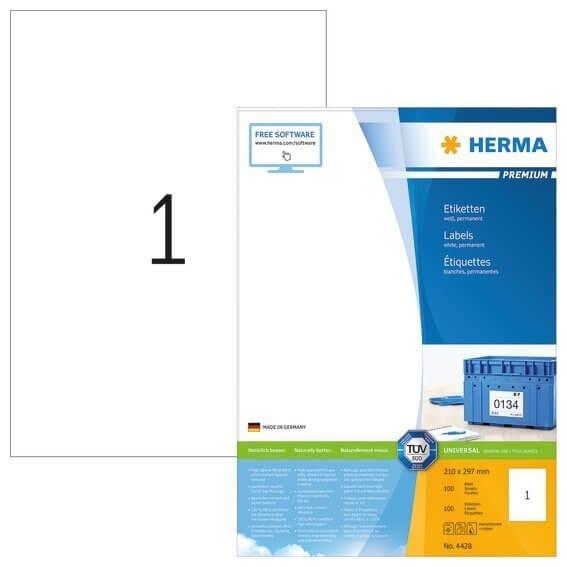 HERMA 4428 Etiketten Premium A4 210x297 mm weiß Papier matt 100 Stück