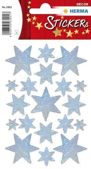 HERMA 3901 10x Sticker DECOR Sterne 6-zackig silber Holographie