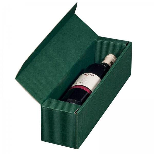 Geschenkkarton für 1 Flasche Wein 92 x 96 x 385 mm Grün