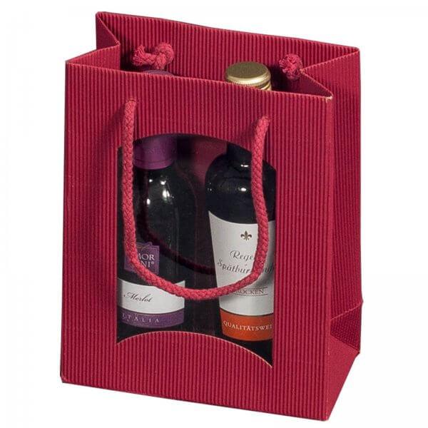 Geschenk-Flaschentasche für 2 Piccolo-Weinflaschen mit Sichtfenster Bordeaux