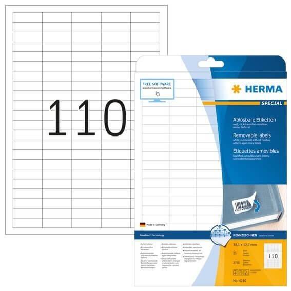 HERMA 4210 Ablösbare Etiketten A4 381x12,7 mm weiß Movables/ablösbar Papier matt 2750 Stück
