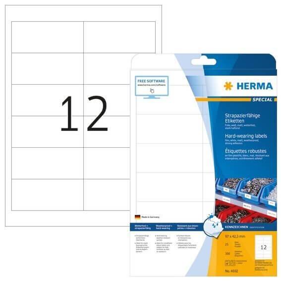HERMA 4692 Etiketten strapazierfähig A4 97x423 mm weiß stark haftend Folie matt wetterfest 300 Stück