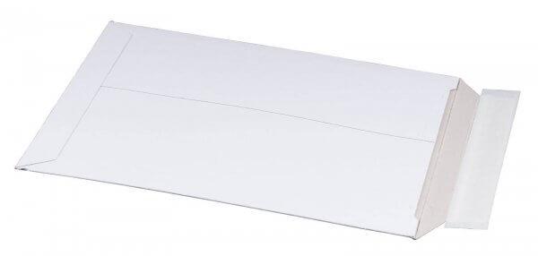 Vollpappe-Versandtasche 237 x 342 x 30 mm DIN A4+ mit Aufreißfaden & Selbstklebeverschluss Weiß