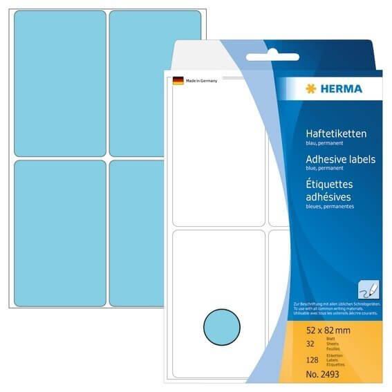 HERMA 2493 Vielzwecketiketten 52 x 82 mm Papier matt Handbeschriftung 128 Stück Blau