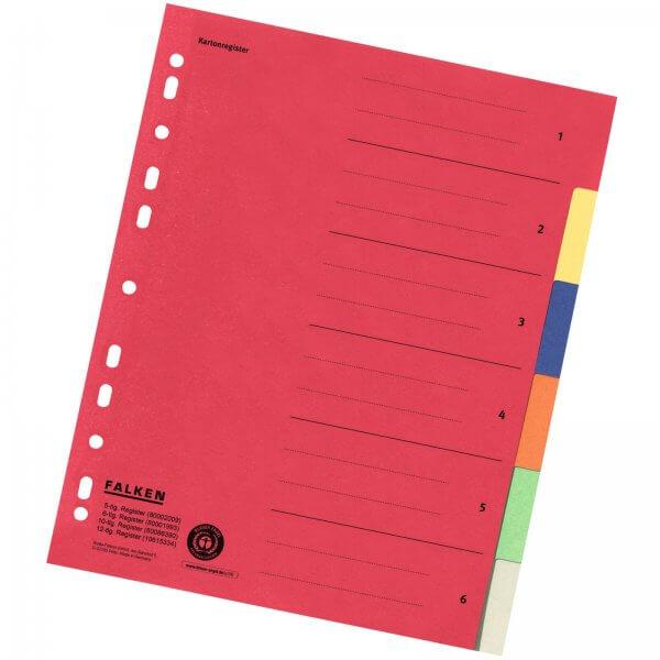 Karton-Register DIN A4 aus Manilakarton 220 g/m² 6-teilig 6-farbig