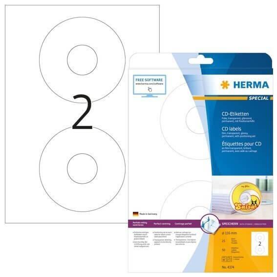 HERMA 4374 CD-Etiketten A4 Ø 116 mm transparent Folie glänzend 50 Stück