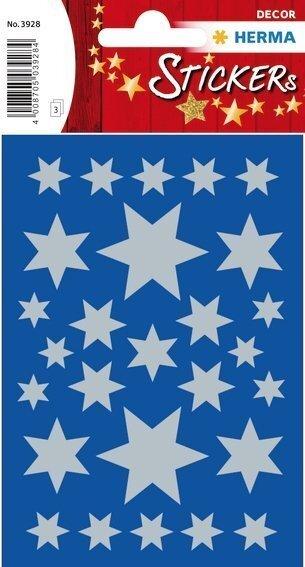HERMA 3928 10x Sticker DECOR Sterne 6-zackig silber