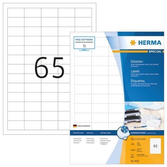 HERMA 4810 Inkjet-Etiketten A4 381x212 mm weiß Papier matt 6500 Stück