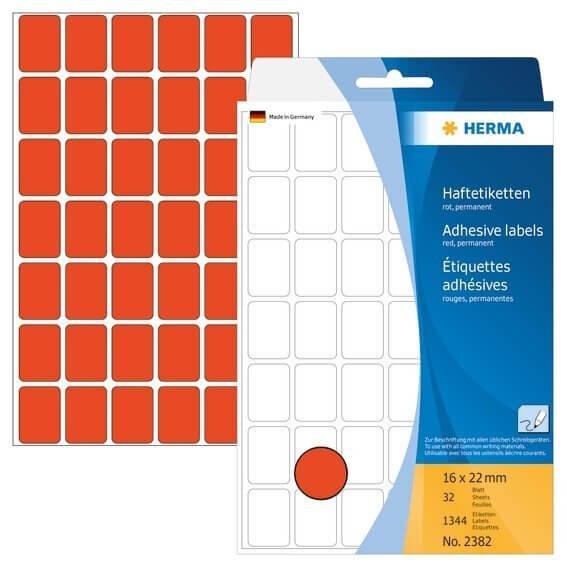 HERMA 2382 Vielzwecketiketten 16 x 22 mm Papier matt Handbeschriftung 1344 Stück Rot