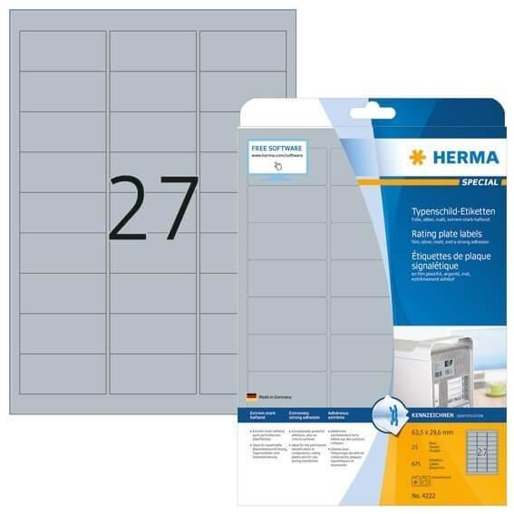 HERMA 4222 Typenschildetiketten A4 63,5x29,6 mm silber extrem stark haftend Folie matt 675 Stück