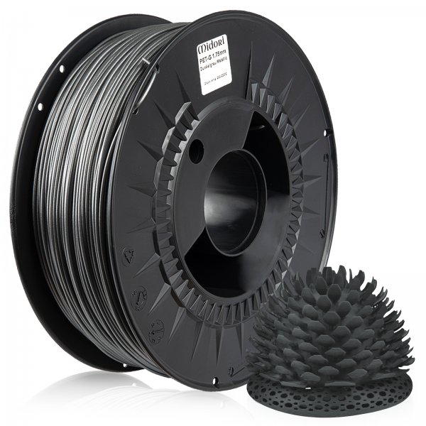 Midori® 3D PETG Filament 1,75mm 1kg Spule Dunkelgrau Metallic