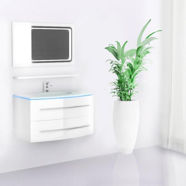 Midori Badmöbel Set Waschbecken Spiegel Weiß Hochglanz 90 cm