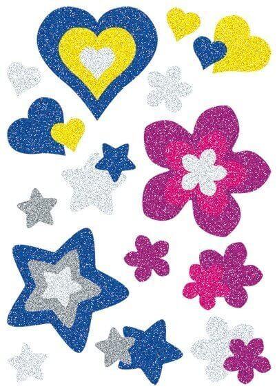 HERMA 3272 10x Sticker MAGIC Herzen Sterne+Blumen glittery