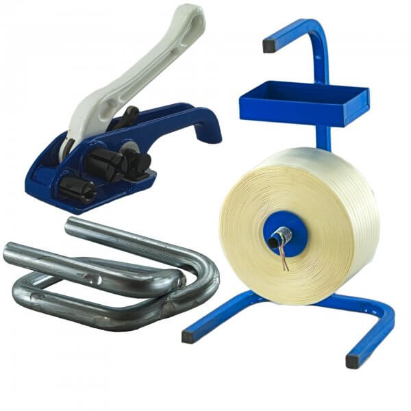 Umreifungsset 25 mm Textil Abroller Bandspanner Metallklemmen verzinkt