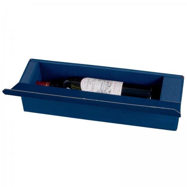 Geschenkkarton für 1 Flasche Wein 92 x 96 x 385 mm Blau