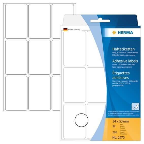 HERMA 2470 Vielzwecketiketten 34 x 53 mm Papier matt Handbeschriftung 288 Stück Weiß