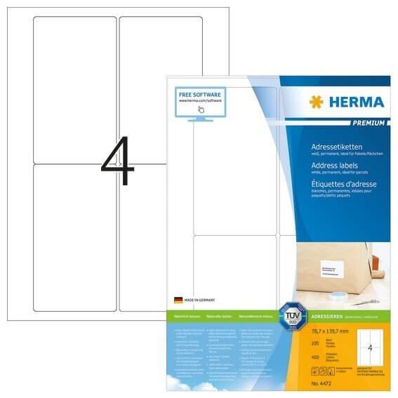 HERMA 4472 Adressetiketten Premium A4 787x1397 mm weiß Papier matt 400 Stück