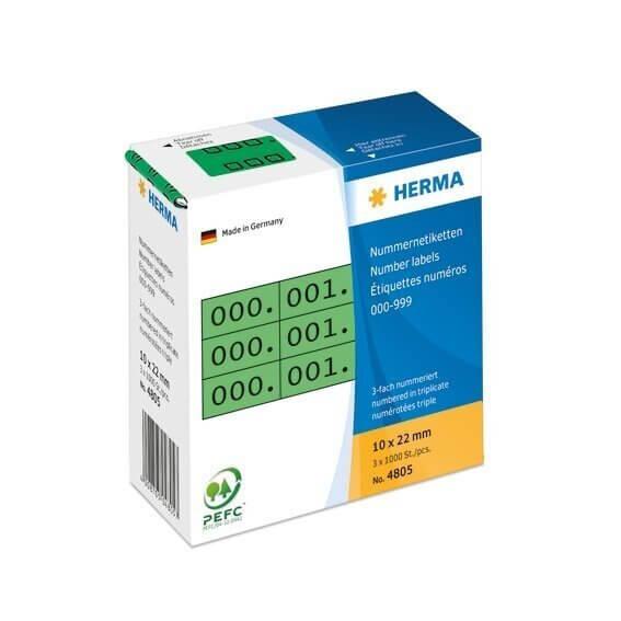 HERMA 4805 Nummernetiketten dreifach selbstklebend 10x22 mm grün/schwarz