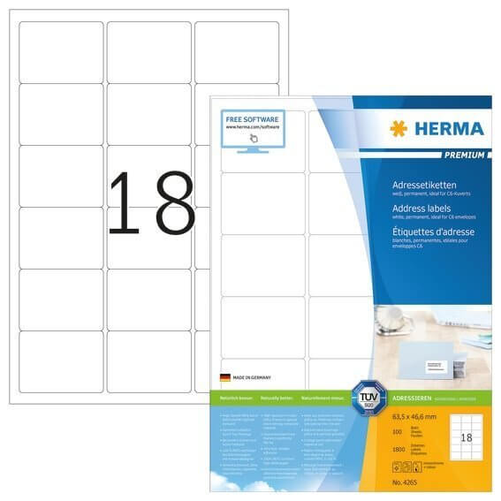 HERMA 4265 Adressetiketten Premium A4 635x466 mm weiß Papier matt 1800 Stück