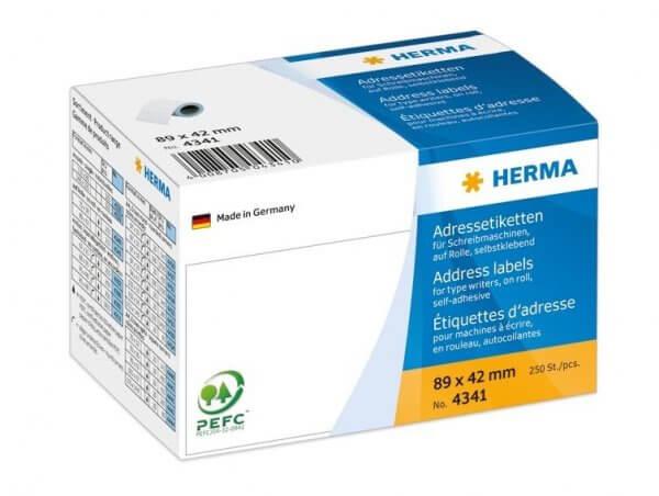 HERMA 4341 Adressetiketten für Schreibmaschinen auf Rollen 89x42 mm weiß Papier matt 250 Stück