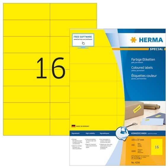 HERMA 4256 Farbige Etiketten A4 105x37 mm gelb Papier matt 1600 Stück
