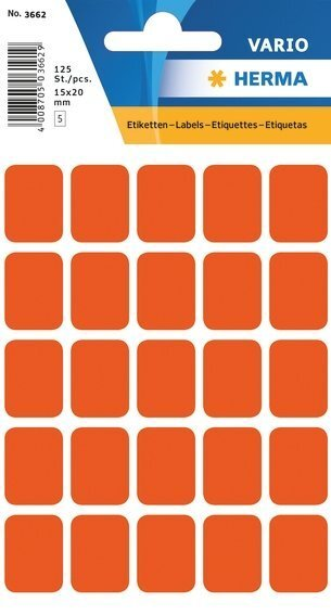 HERMA 3662 Vielzwecketiketten 15x20 mm rot Papier matt 1250 Stück