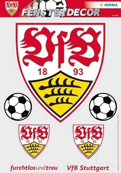 HERMA 1990 Fensterdecor VfB 35 x 50 cm große Logos