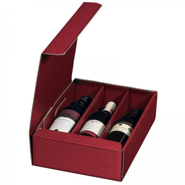 Geschenkkarton für 3 Flaschen Wein 252 x 96 x 363 mm Bordeaux