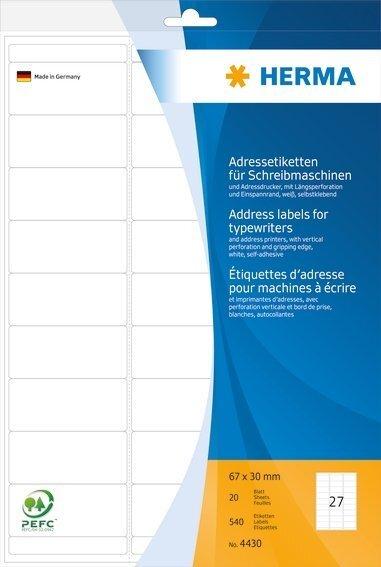HERMA 4430 Adressetiketten für Schreibmaschinen A4 67x30 mm Papier matt Ecken rund 540 Stück