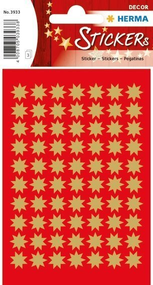 HERMA 3933 10x Sticker DECOR Sterne 8-zackig gold Ø 10 mm