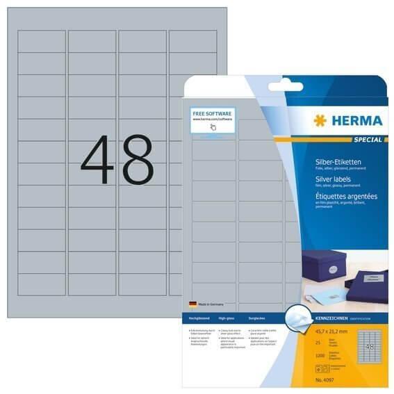 HERMA 4097 Etiketten A4 45,7x21,2 mm silber Folie glänzend 1200 Stück